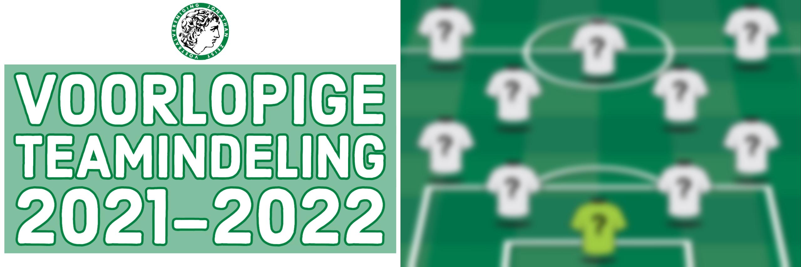 Voorlopige teamindeling 2021-2022